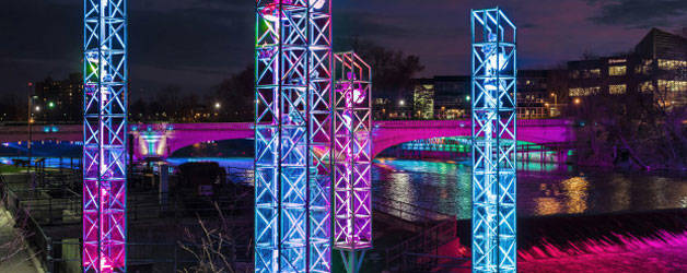 World's first interactive light display over water